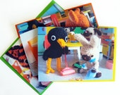 Cute card set - Spring cleaning with crochet animals, set of 3