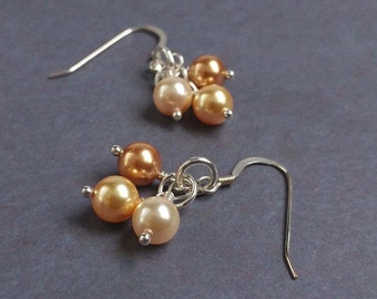 Delicate Sterling Silver Earrings with Gold, Ivory & Pale Yellow 6mm Swarovski Crystal Pearls