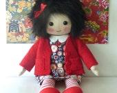 doll, handmade heirloom doll, cloth doll in red, collectors doll, cute original doll