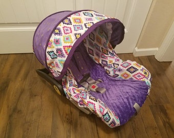 Diamonds with arrow accents - Custom baby car seat cover order, girly infatn seat cover- Always comes with Free Strap Covers