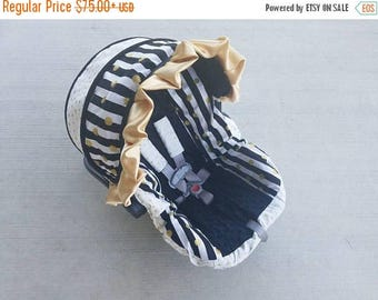 SALE Baby Car seat Cover, black and gold infant car seat cover, girl baby seat cover with ruffle, girl car seat cover-FREE strap covers