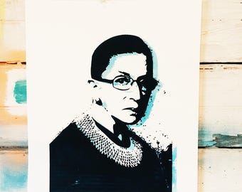RBG - Her Justice Ruth Bader Ginsburg  - Glow in the Dark hand pulled screen print
