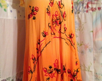 OPEN SIZE, Embroidered Bohemian Hippie Boho Indie Orange Lightweight Tunic Top