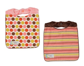 Sale Baby Bib Girl Set (Reversible) Dots and Stripe on Minky - Baby Bibs for Girls Made in the USA