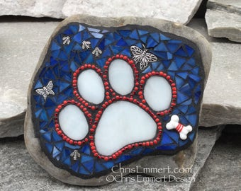 Patriotic Red, White and Blue, Black Paw Print - Garden Stone, Pet Memorial, Garden Decor'