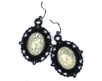 White Marble and Black Lace Opal Earrings