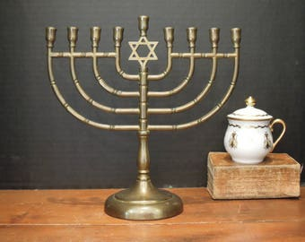 Vintage Solid Brass Traditional Menorah / Star Of David / Judaica / Chanukah / Hanukkah Candle Holder / Candleabra