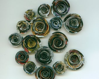 Recycled Comic Book Handmade Spiral Paper Flowers, Marvel, Super Hero