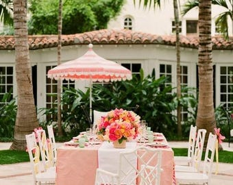 Custom Party Tableskirt - Inverted Pleat Skirted Tablecloth - Palm Beach Party