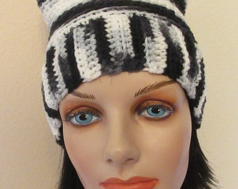 Black White and  Grey Cat Ears Hat, Pussycat Hat, Cat Hat, Cat Ears Beanie, Cat Beanie, Black White and Grey Cat Hat