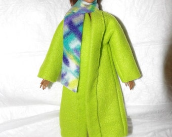 Solid lime green Fleece coat & geo print scarf for female Fashion Dolls - ed993