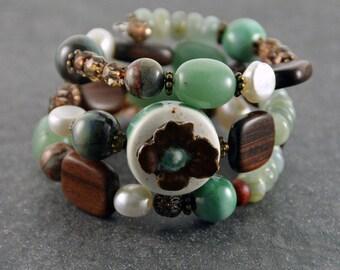 Earth Love Bohemian Bracelet Memory Wire Bracelet Boho Chic Jewelry