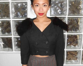 Vintage 1950s KENNIE ORIGINALS black wool & mink-collared cropped jacket, size XS / Small