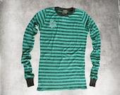 Top tee stripe/women crochet daisy/extra long knit top/aqua gray sweater knit