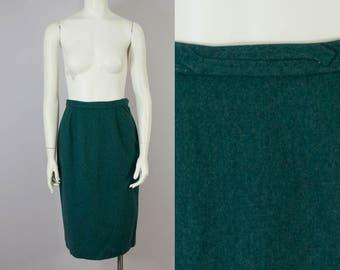 "40s 50s Vintage Dalton Green Wool High-Waisted Midi Skirt (XS, S; 25 1/2"" Waist)"