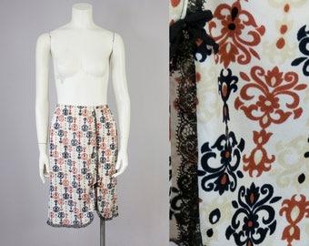 60s Vintage Saks Fifth Avenue Scroll Print Lace Slip Skirt (S, M)