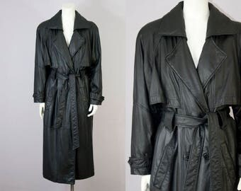 80s 90s Vintage Black Leather Long Trench Coat. Oversized Jacket (S, M)