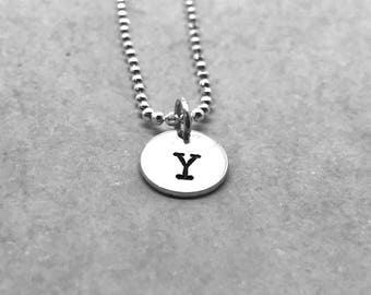 letter y necklace sterling silver initial necklace all letters available hand stamped jewelry everyday necklace gifts for her
