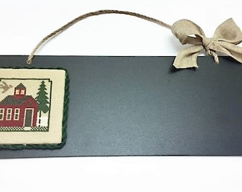 Teacher Gift, Door Hanger, Finished Cross Stitch, Completed Cross Stitch, School House