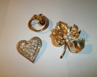 Vintage Mix Lot, Brooches, Gold Fill, Gen Gems, gen Pearls, Heart, Leaf, Oval Pins, circa 1960's