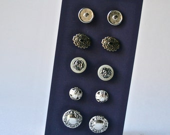 Ten Vintage Metal Buttons in Pairs for Crafts and Sewing