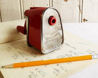 Vintage Swingline Pencil Sharpener - Red Plastic - Wall or Desk Mount - Great Retro Pencil Sharpener - Mid-Century 1960s