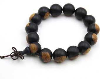 Tibetan 15mm x 15mm Wood Prayer Beads Buddhist Wrist Mala Bracelet  HT001