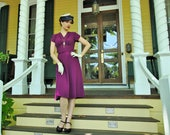 30s style rayon dress in magenta, made to measure for Camille