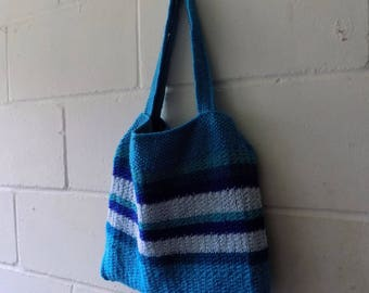 Hand Knitted Aqua and Blue Striped Small Tote Bag