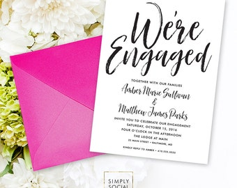 Calligraphy Engagement Party Invitation - Classy Black and White Calligraphy Typography We're Engaged Printable