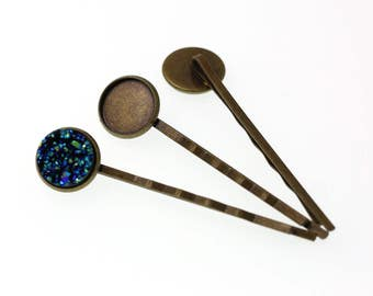 10pcs of 12mm Antiqued Bronze Tone Bobby Pins Round Tray Hair Accessory Bezel Blanks, Made with Brass