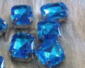 Sew On Rhinestones Crystal Sapphire Blue DIY Emerald Princess Cut Rectangle 8mm x 10mm 4 hole Montee Acrylic Pronged Flat Back Beads