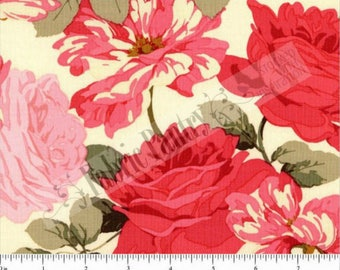 SALE! Shabby Rose Garden Quilt Fabric  - Stripped Rose by Martha Negley for Rowan/Westminster PWMN070-Bright BTHY