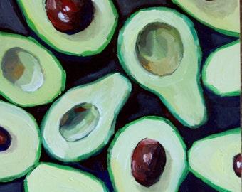 Avocado Painting  Oil Painting -avocado painting, food art, , kitchen wall art, home sweet home, kitchen decor