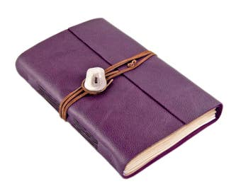 Large Purple Leather Journal with Tea Stained Paper - Travel Diary - Writing Journal  - Deer Antler - Ready To Ship -