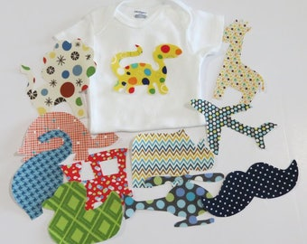 Iron on Applique Baby Boy Applique Set Set of 10 Iron on Appliques Baby Shower Activity