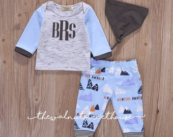 Monogrammed coming home outfit, Adventure awaits outfit, baby boy coming home set, hat, pants & top included, monogram arrow onesie