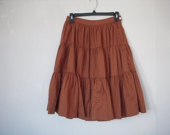 1950s Vintage Western Circle Skirt by Rockmount Ranch Wear Denver Co Rust Brown 50s Southwest Cowgirl Clothing