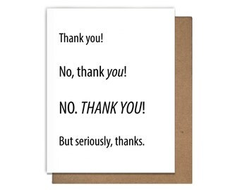 Thanks No Thank You Card Funny Letterpress