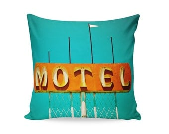 Mid Century Modern Pillow Cover | Neon Sign Pillow | Motel Sign | Retro Home Decor | Decorative Pillow Cover | Palm Springs Decor