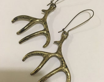 Large Antler Earrings, Long Earrings, Antiqued Brass Tone