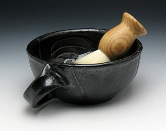 Modern Man Metallic Black Shaving Bowl with Angled Handle for Right Handers, Abstract Carved Black Lathering Bowl