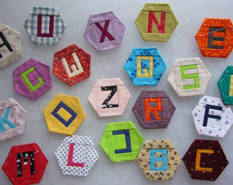 Hexie alphabet paper pieced one inch hexagons letters EPP instant download PDF