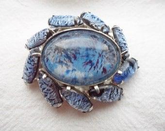 Vintage 1950's Misty Blue Art Glass Brooch