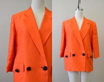 1980s Christian Dior Orange Boxy Jacket