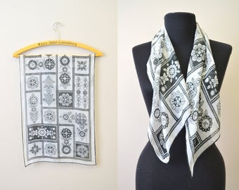 1960s Black and White Floral Chiffon Scarf