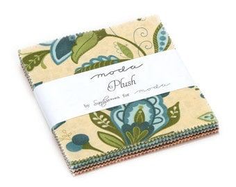 Moda Cotton Quilting Fabric PLUSH by Sandy Gervais 42 Piece Charm Pack Squares