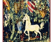ON SALE Medieval Heraldry Unicorn Counted Cross Stitch Chart -  William Morris design in a Medieval Arts and Crafts Style