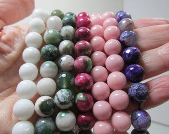 Sale Bead Lot Supplies Strands 16 inch 10mm White, Greens, Pinks, Amythst 7 Strands Destash