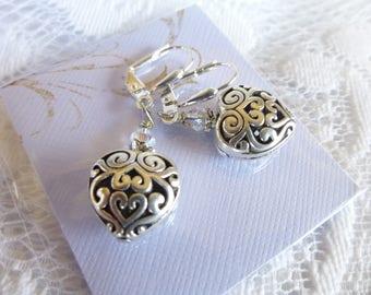 Hollow Heart Earrings with Crystal Valentine Earrings in Antique Silver Tibetan silver heart earrings Silverplated leverbacks